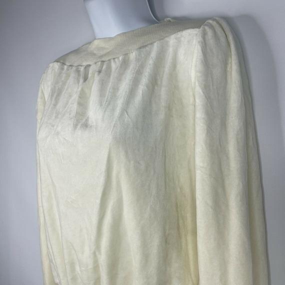Vintage 70s  Deadstock Allura Ivory White Velour … - image 7