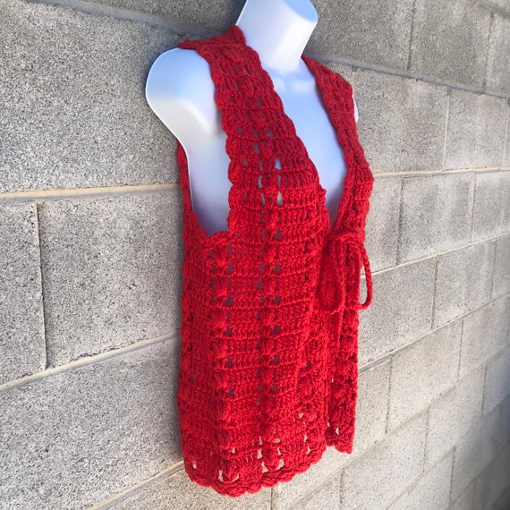 Vintage 70s Tomato Red Crochet Tie Front Festival… - image 3