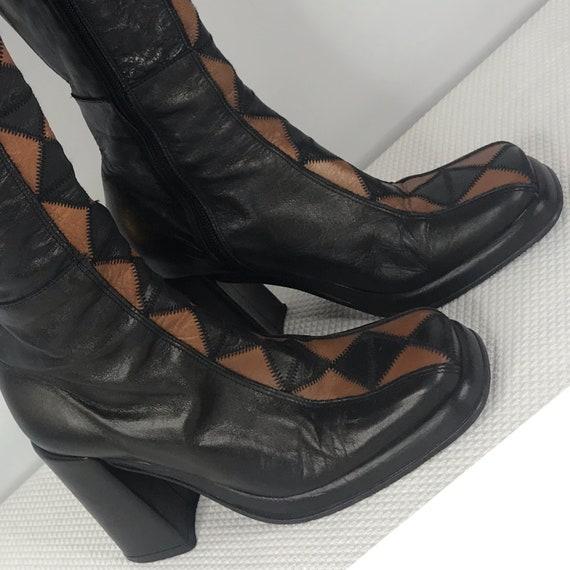 Vintage 90s Does 60s El Dantes Black Camel Leather