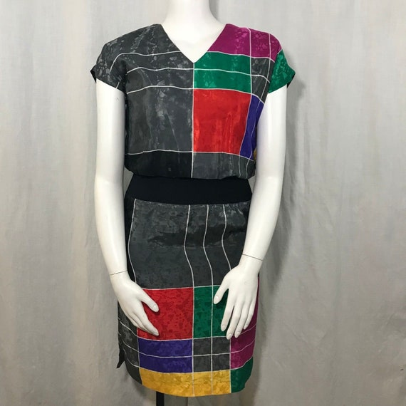 Vtg 70s Act I Color Block Dress 7/8 Party Disco Co
