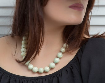 """Ceramic necklace  """"Crystal Chime"""" Nacre Necklace, Statement Jewelry, Chunky Necklace, Porcelain Jewelry, Beaded Necklace,  100 % Handmade"""