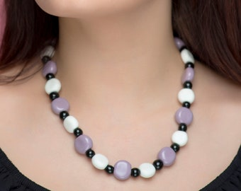"""Ceramic Necklace  """"Caprice"""" Lilac Necklace, Statement Jewelry, Chunky Necklace, Porcelain Jewelry, Beaded Necklace,  100 % Handmade"""