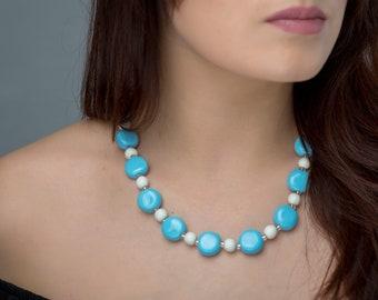 "Ceramic necklace  ""Bright sky"" Blue Necklace, Statement Jewelry, Chunky Necklace, Porcelain Jewelry, Beaded Necklace,  100 % Handmade"