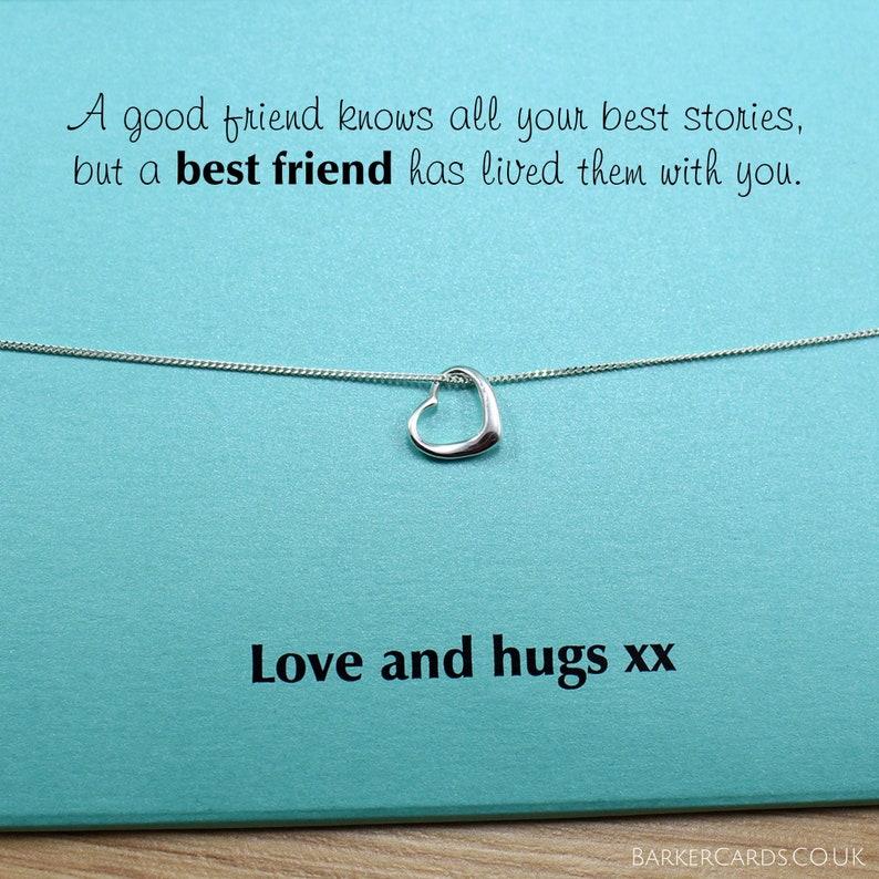 Best Friend Gifts Silver Heart Necklace Pendant Best Friend image 0