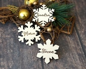 Christmas Winter wedding Custom Wood Laser cut guest names Place setting snowflake favours wood Table wedding name place cards tags gift