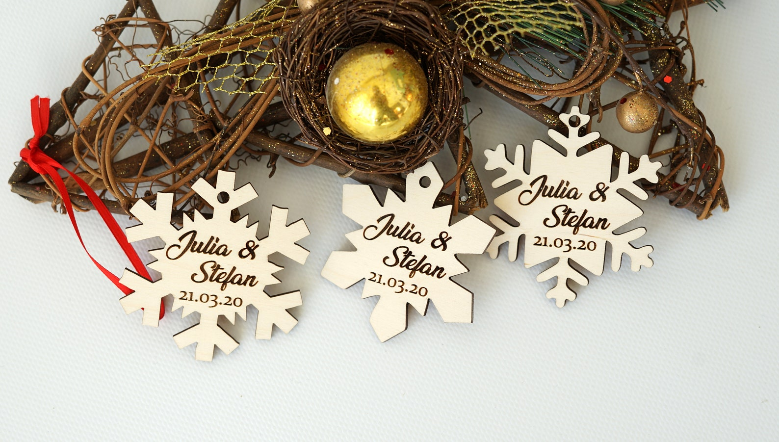 Winter Wedding Favors for Guests Thick Wood Snowflake