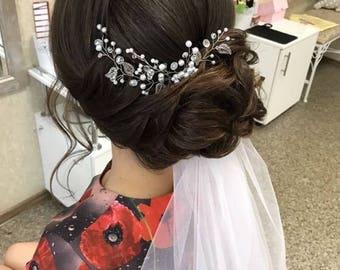 Wedding Comb, Pearl Comb,  Crystal wedding headpiece, Wedding Hair Accessory