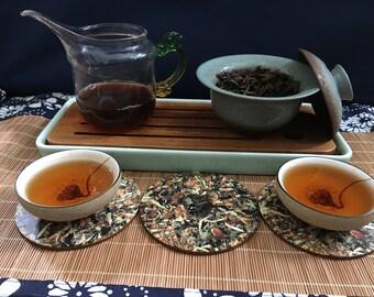 Natural Birch Wood White Tea Disc Coasters