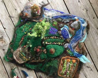 The Land of Yarnia, OOAK needle felted gnome home, playmat, playscape, fairy land, with 3 gnomes and a Santa gnome