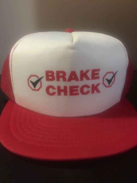 Red Brake Check Snapback Trucker Hat