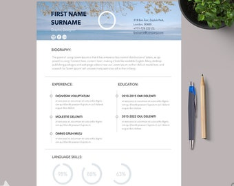Mac Pages Resume Template with matching Cover Letter and | Etsy