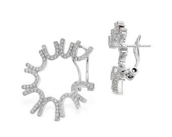 Radiance front hoop earrings - silver