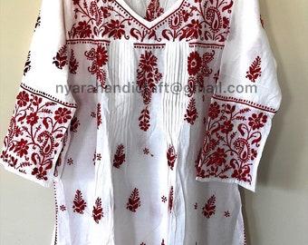 Pure Cotton White Hand Embroidered Tunic Top  Kurti