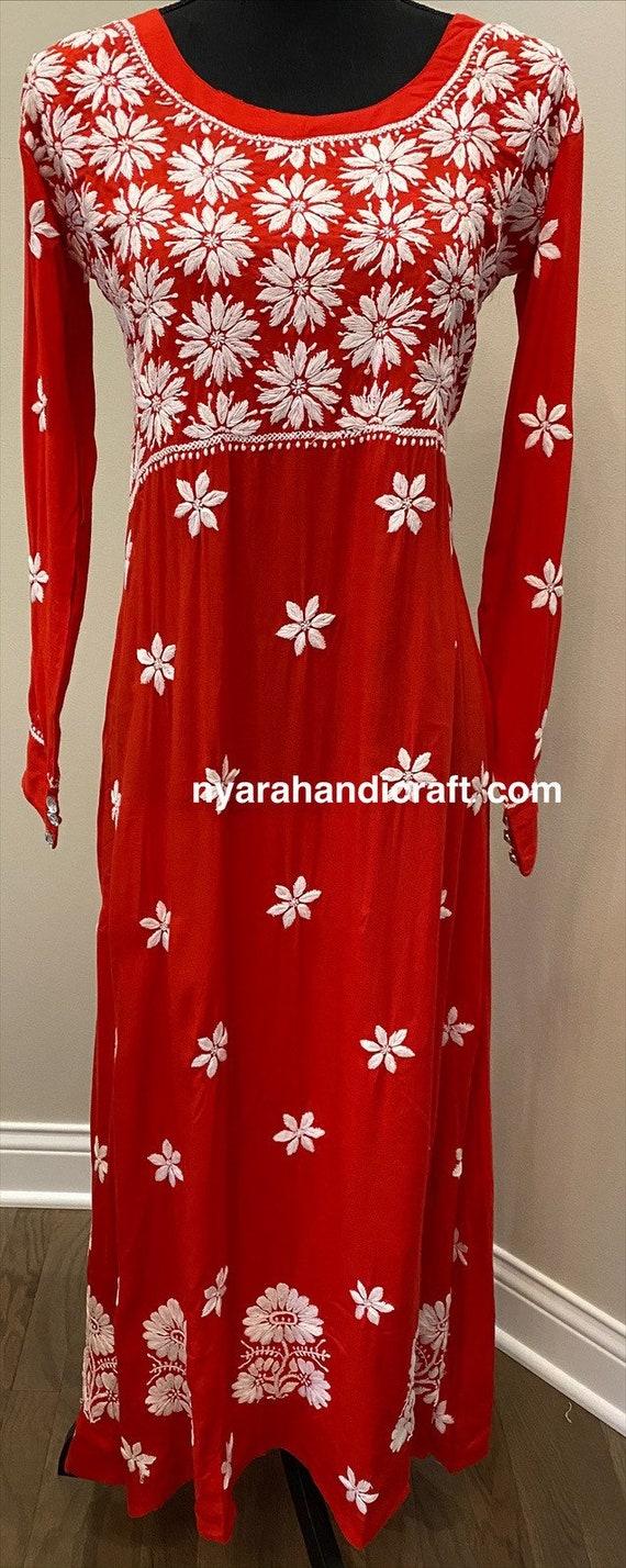 Pink Chikankari Kurta  Soft Modal Cotton Hand embroideredFree Shipping in US