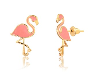 Flamingo Jewelry Rose Gold Cute Bird Earrings Pink Flamingo Stud Earrings in 14 Karat Gold Gift For Her Solid Gold Tiny Exotic Studs