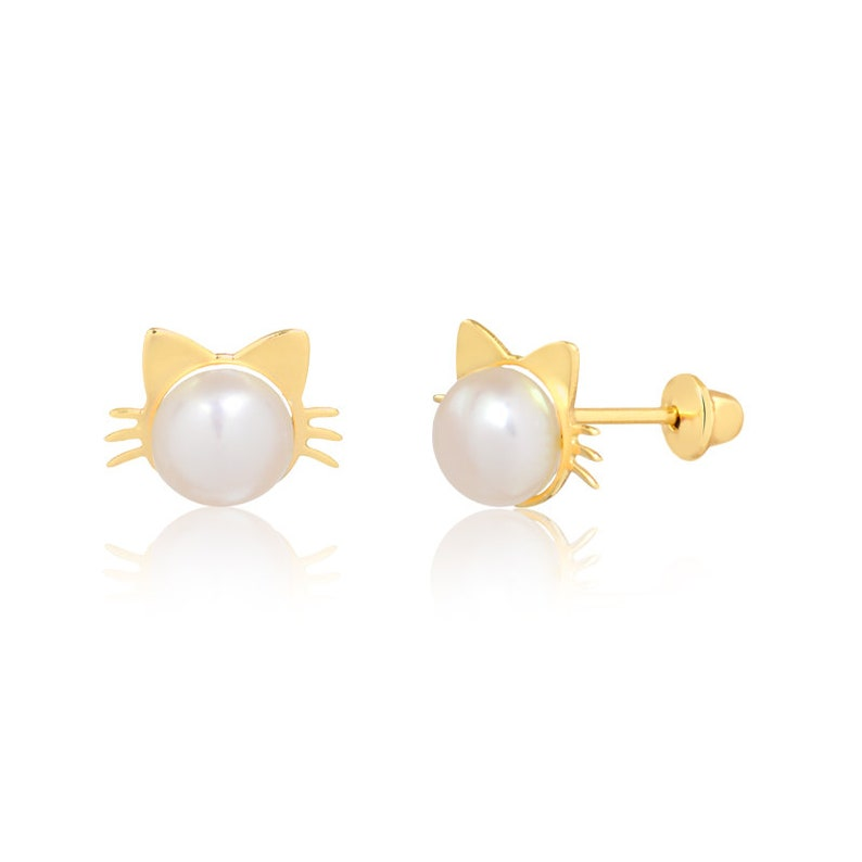 14k Solid Yellow Gold Pearl 4 mm Push Backs Stud Earrings Infants and Toddlers