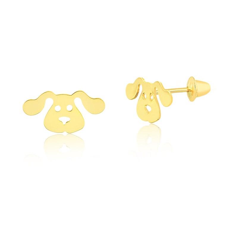 7948046b5 18k Solid Yellow Gold Dog Push Backs Stud Earrings for Girls | Etsy