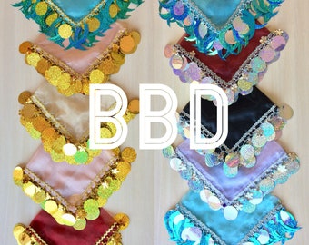Wholesale 11 wedding scarves 52cm< organza fabric six basic colors ( back, golden, blue, purple, pink, scarlet) with large sequins and Bells