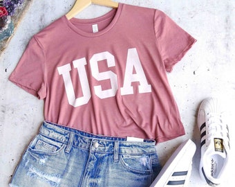 a0348c1c5b0a USA Tee - USA cropped T-shirt - Patriotic Shirt - USA Shirt America Merica  Patriotic Red White and Blue - Fourth of July crop top tees
