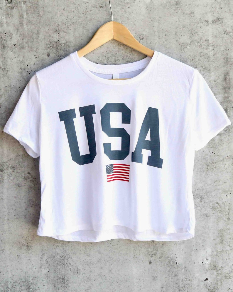 2727531839 USA Tee - USA cropped T-shirt - Patriotic Shirt - USA Shirt America Merica  Patriotic Red White and Blue - Fourth of July crop top tees