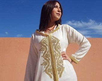 Marokkaanse Djellaba Lange Jurk Kaftan Voor Vrouwen Etsy