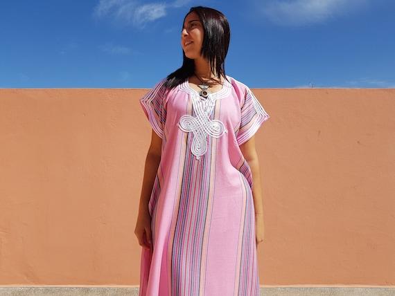 Rosa mit Streifen, Bekleidung für Frau, marokkanische Djellaba Boho marokkanischen Kaftan