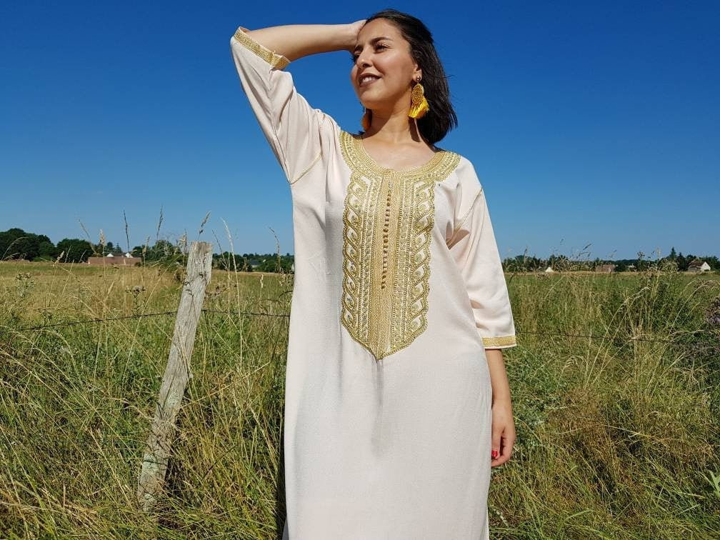 Moroccan Nude Kaftan Oriental Clothing For Women-6839