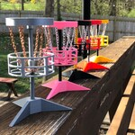 Miniature Disc golf basket game with tiny frisbees, 3d printed