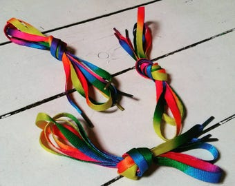 Rainbow Laces - Shoelaces - Tie Dye - Stocking Stuffers - Fillers - Accessories - Shoe Laces - Skate - Skates - Colorful - Colourful - Gift