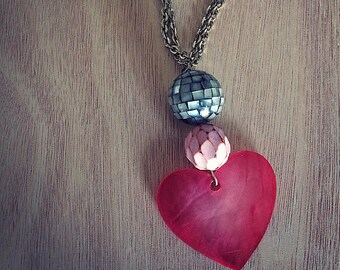 Silver Necklace with Pink heart Pendant