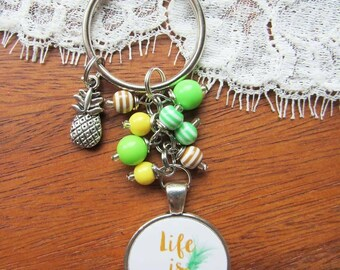 Life is sweet pineapple keychains