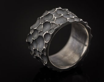 Made to order item - Unisex bulky rough rippled wavy design textured oxidized sterling silver ring