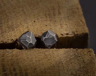 Minimalist random faceted sterling silver stud earrings