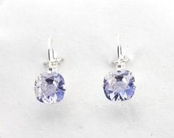Swarovski Tanzanite Purple Solitaire Post Earrings