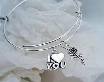 I love you silver-tone adjustable bangle charm bracelet, Flower Charm bracelet, Rose bracelet, I Love You bracelet Valentines