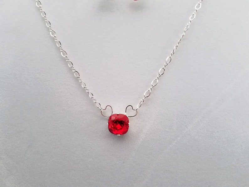 c5a5425b952 Swarovski 12mm Red Solitaire Necklace with Hearts Swarovski | Etsy