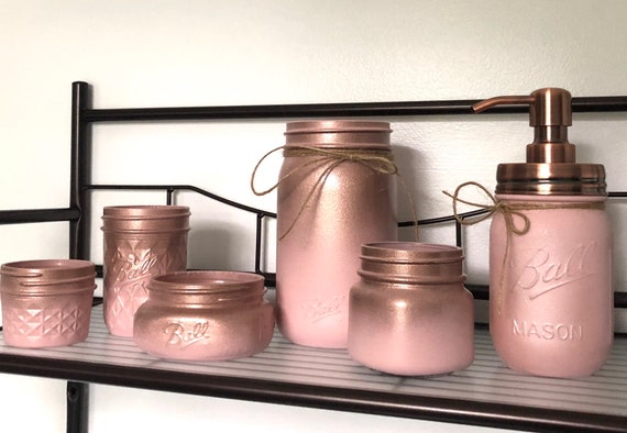 Rose Gold Bathroom Accessories Set Makeup Storage Organizer Etsy