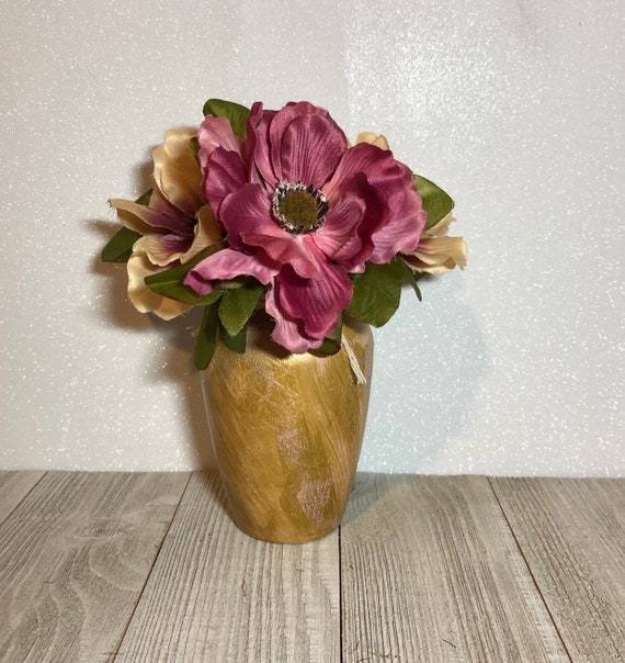 Gold And Blush Pink Vase Mini Flower Vase Gold And Pink Bud Etsy