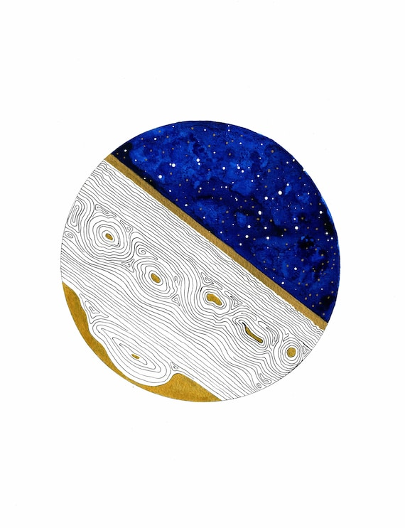 Celestial Wall Art Blue and Gold Celestial Painting Night | Etsy