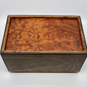 Large Wood Jewelry Box Heirloom Box with Lid 5th Anniversary Gift for Her Carpathian Elm Jewelry Box Handcrafted Jewelry Chest