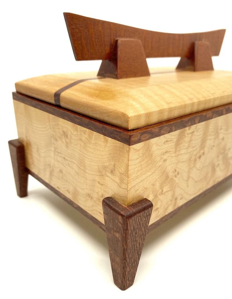 Wooden Keepsake Box Birdseye Maple Pagoda Box Small Wood Jewelry Box Office and Desk Storage Box 5th Anniversary Gift for Her