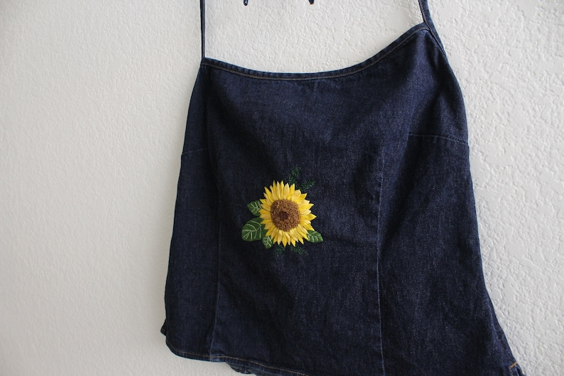 spring upcycled summer green embroidery flower sunflower embroidered shirt denim Embroidered halter top thrifted yellow