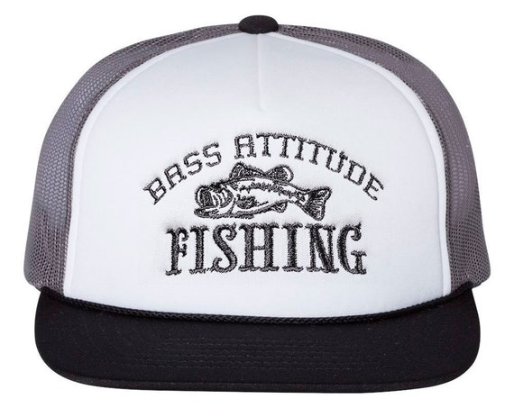 Bass Attitude Fishing Logo - Embroidered Snap-back Foam Trucker Cap
