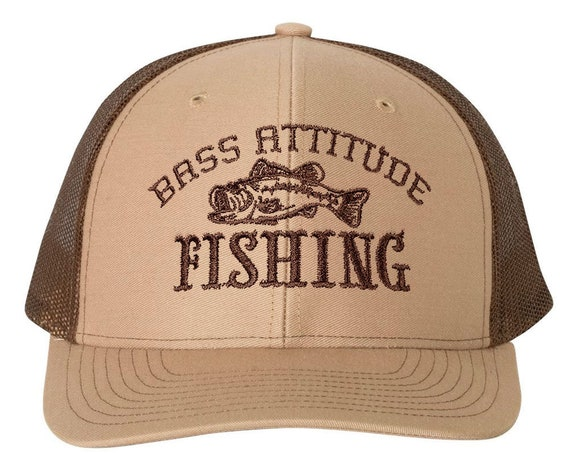 Bass Attitude Fishing Embroidered Logo - Richardson Structured Snap-back Trucker Caps and Hats