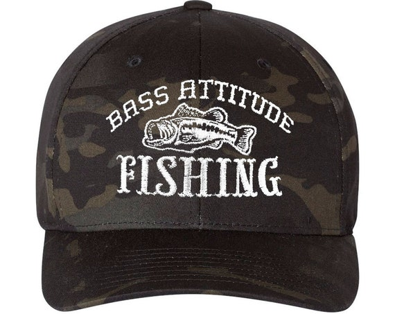 Camo Bass Attitdue Fishing Logo on Flexfit Cap - 2 Color Options - Embroidered Cap Sizes: S/M and L/XL