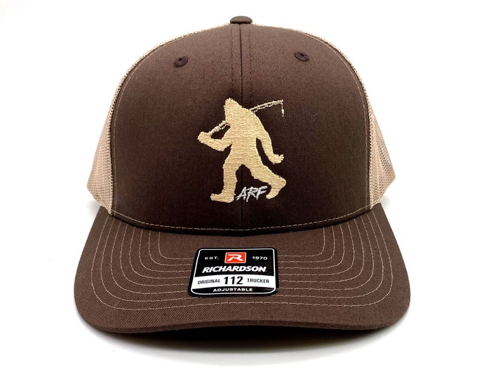 Fishing Bigfoot by Alex Rudd Fishing - ARF Sasquatch Embroidered Logo Trucker Caps and Hats