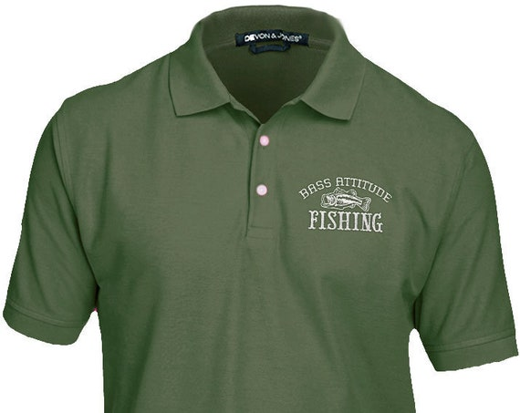 Bass Attitude Fishing Premium Embroidered Polo - Men's and Ladies, Pima Piqué, Short-Sleeve Golf Shirt