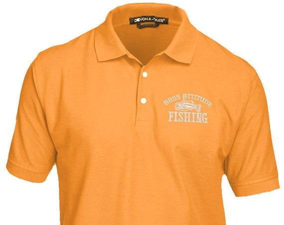 Bass Attitude Fishing Premium Embroidered Polo - Men's and Ladies, Pima Piqué, Short-Sleeve Golf Shirt