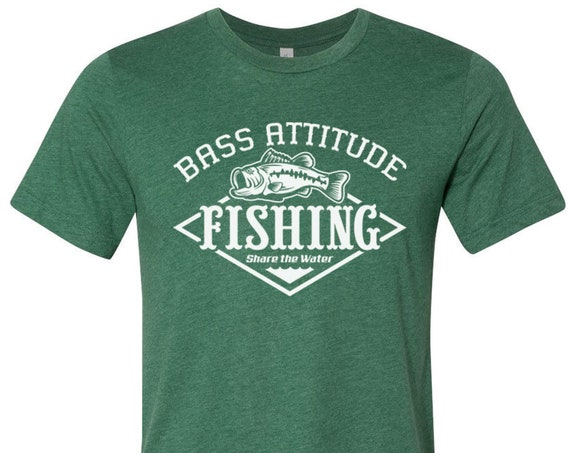 Bass Attitude Fishing Logo - Unisex Short Sleeve Jersey Tee -  Dual Blend T-Shirts