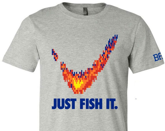 "BAF graphin' ""Just Fish It."" T-shirts - Screen Printed Dual Blend T-Shirts"